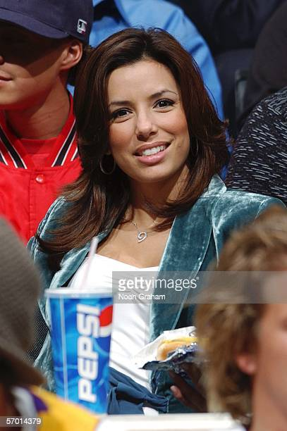 Actress Eva Longoria watches the Los Angeles Lakers take on the San Antonio Spurs March 6 2006 at Staples Center in Los Angeles California NOTE TO...