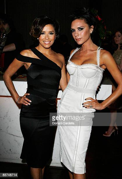 Actress Eva LongoriaParker and Victoria Beckham attend the Allure Magazine Cover Party for Eva Longoria on November 18 2008 in Hollywood California