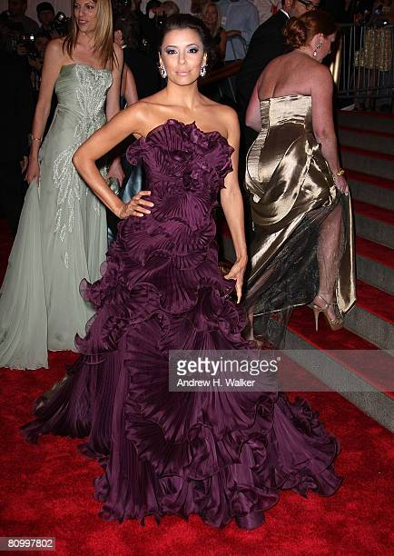 Actress Eva LongoriaParker arrives to the Metropolitan Museum of Art Costume Institute Gala Superheroes Fashion and Fantasy held at the Metropolitan...