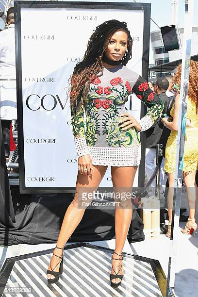 Actress Eva Marcille attends the Cover Girl glam stage during the 2016 BET Awards at the Microsoft Theater on June 26 2016 in Los Angeles California