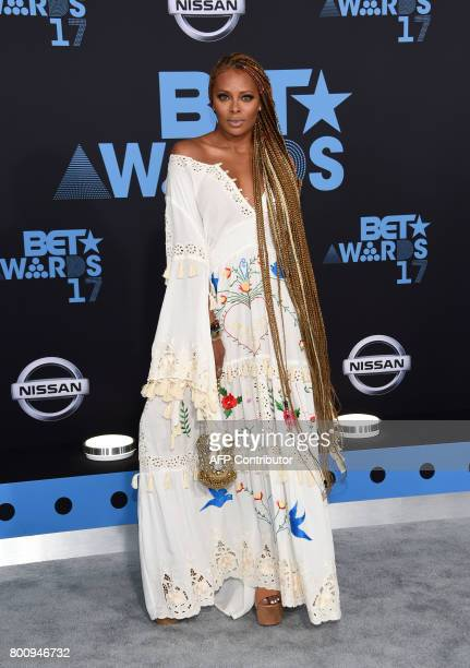 Actress Eva Marcille poses upon her arrival at the BET Awards ceremony on June 25 in Los Angeles California / AFP PHOTO / CHRIS DELMAS