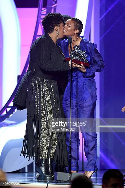 Actress Eva Marcille presents the Best RB/Soul Female Artist award to recording artist Jill Scott onstage during the 2015 Soul Train Music Awards at...