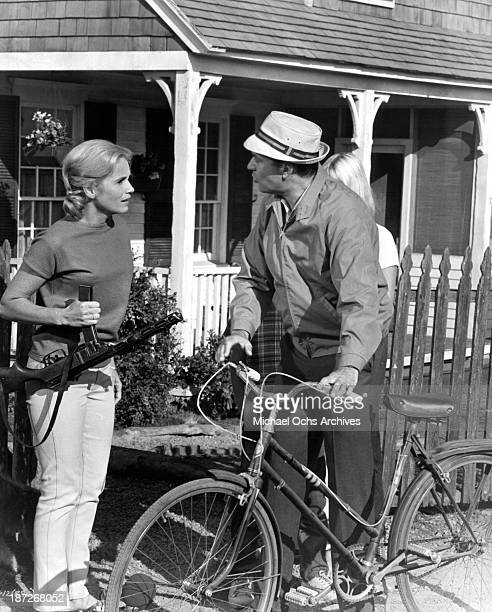 Actress Eva Marie Saint and actor Carl Reiner on set of the movie The Russians Are Coming the Russians Are Coming in 1966