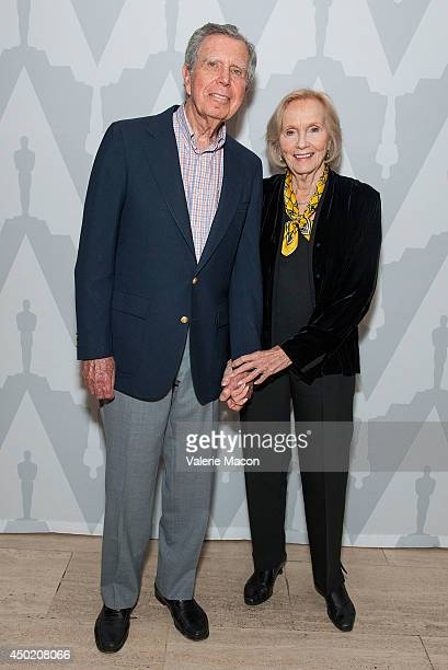 Actress Eva Marie Saint and husband Jeffrey Hayden attend The Academy Of Motion Picture Arts And Sciences' 60th Anniversary Screening Of On The...