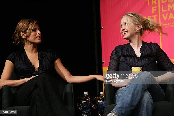Actress Eva Mendes and Julie Delpy speak during the Bringing Home The Bacon panel discussion at the 2007 Tribeca Film Festival on April 27 2007 in...