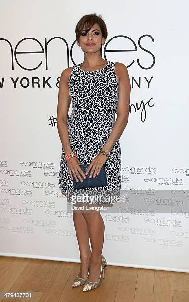 Actress Eva Mendes and New York Company launches the Eva Mendes for NYC with a popup shop at The Beverly Center on March 18 2014 in Los Angeles...