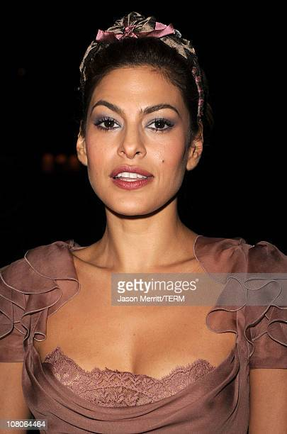 Actress Eva Mendes arrives at the 2011 Art Of Elysium Heaven Gala held at the California Science Center on January 15 2011 in Los Angeles California