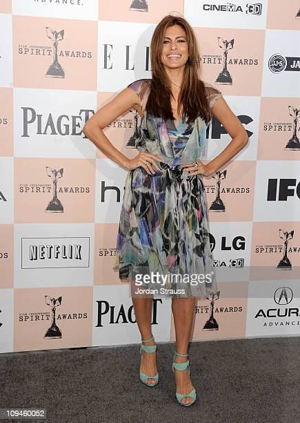 Actress Eva Mendes arrives at the 2011 Film Independent Spirit Awards at Santa Monica Beach on February 26 2011 in Santa Monica California