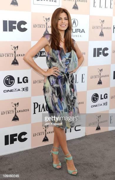 Actress Eva Mendes arrives at the 2011 Film Independent Spirit Awards held at Santa Monica Beach on February 26 2011 in Santa Monica California