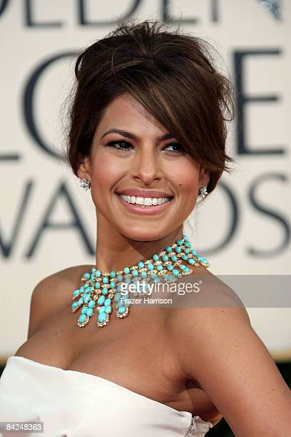 Actress Eva Mendes arrives at the 66th Annual Golden Globe Awards held at the Beverly Hilton Hotel on January 11 2009 in Beverly Hills California