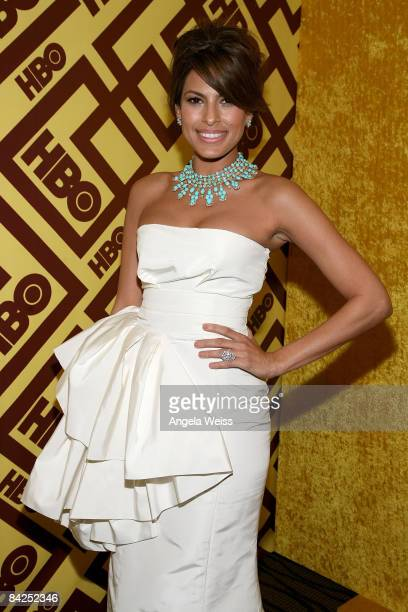 Actress Eva Mendes arrives at the official HBO after party for the 66th Annual Golden Globe Awards held at Circa 55 Restaurant Poolside at the...