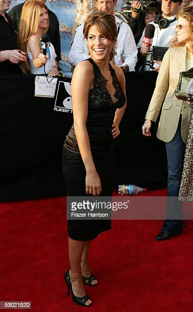 Actress Eva Mendes arrives to the 2005 MTV Movie Awards at the Shrine Auditorium June 4 2005 in Los Angeles California The 14th annual award show...