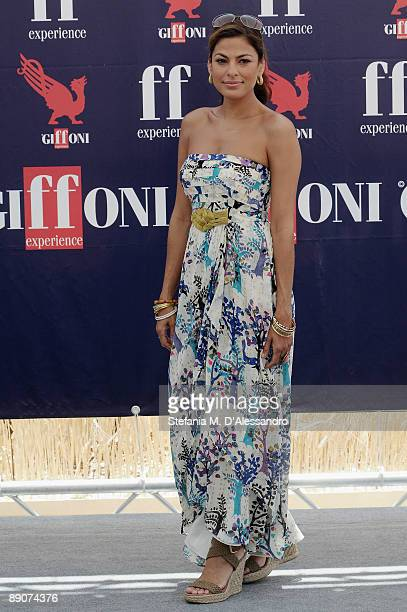 Actress Eva Mendes attends a photocall during the Giffoni Experience on July 17 2009 in Salerno Italy