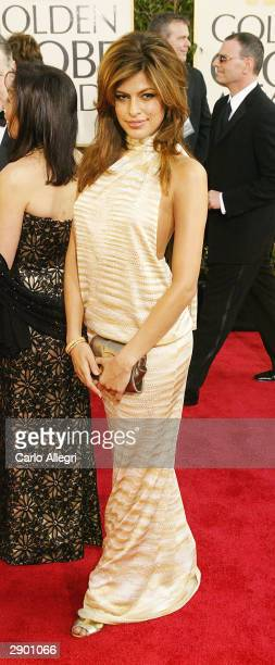 Actress Eva Mendes attends the 61st Annual Golden Globe Awards at the Beverly Hilton Hotel on January 25 2004 in Beverly Hills California