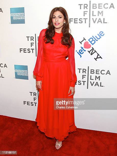 Actress Eva Mendes attends the American Express and Cinema Society premiere of 'Last Night' during the 10th annual Tribeca Film Festival at BMCC...