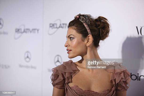 Actress Eva Mendes attends the Art Of Elysium Heaven Gala 2011 at The California Science Center Exposition Park on January 15 2011 in Los Angeles...