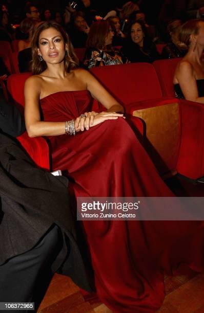 Actress Eva Mendes attends the 'La Dolce Vita' world restoration premiere during The 5th International Rome Film Festival at Auditorium Parco Della...