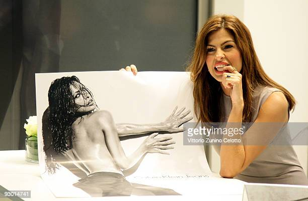 Actress Eva Mendes attends the launch of Calvin Klein 'Body' Jeans at Calvin Klein boutique on November 12 2009 in Milan Italy