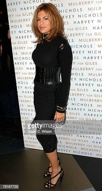 Actress Eva Mendes Attends the Mulberry For Giles Bags Launch Party at Harvey Nichols on January 30 2007 in London England