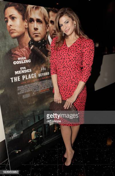 Actress Eva Mendes attends the reception for 'The Place Beyond The Pines Jacqui Getty Hosted Screening For Eva Mendes' at ArcLight Cinemas on March...