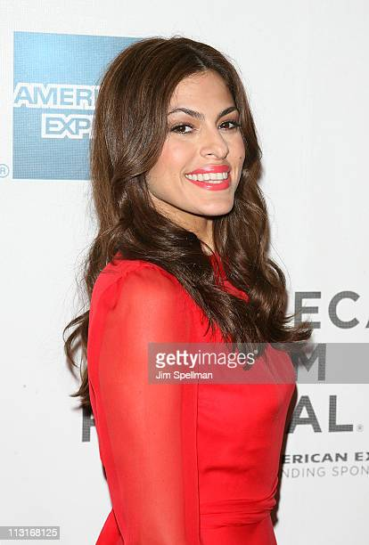 Actress Eva Mendes attends the Tribeca Film Festival and Cinema Society premiere of 'Last Night' at BMCC Tribeca PAC on April 25 2011 in New York City