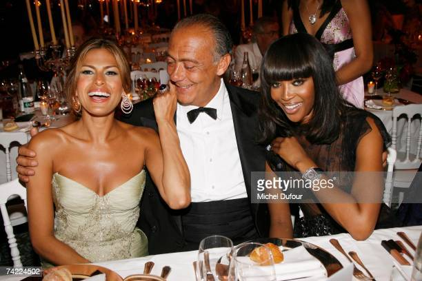Actress Eva Mendes party host and Chairman of De Grisogono Fawaz Gruosi and Model Naomi Campbell attend the De Grisogono Party at the Eden Roc on May...