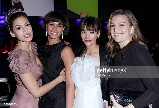 Actress Eva Mendes Simone Bent Rashida Jones and Krista Smith attend the 2011 Art Of Elysium Heaven Gala held at the California Science Center on...