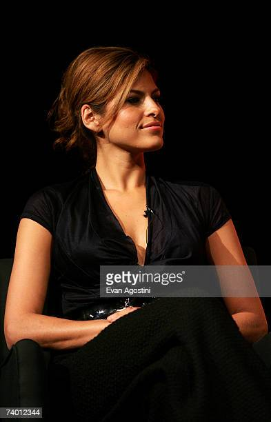 Actress Eva Mendes speaks during the Bringing Home The Bacon panel discussion at the 2007 Tribeca Film Festival on April 27 2007 in New York City