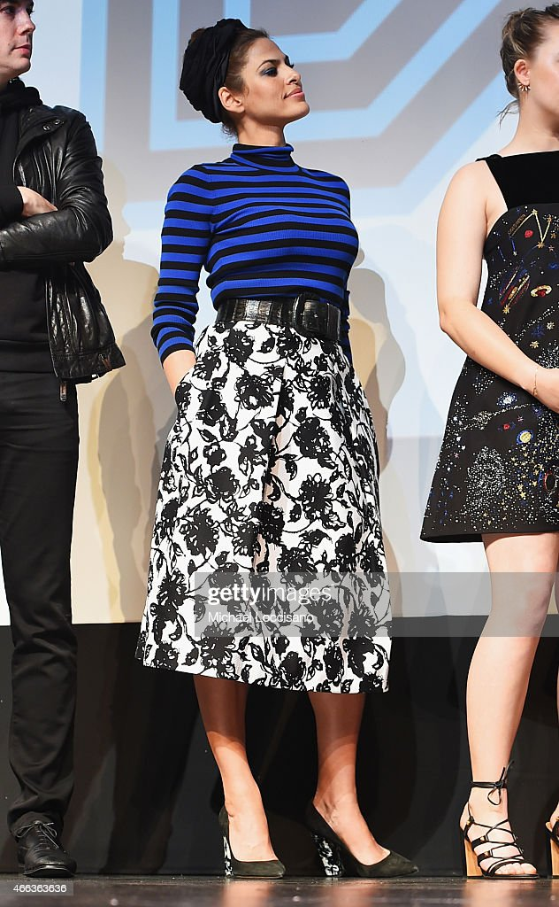 Actress Eva Mendes takes part in a Q&A following the 'Lost River' premiere during the 2015 SXSW Music, Film + Interactive Festival at Topfer Theatre at ZACH on March 14, 2015 in Austin, Texas.