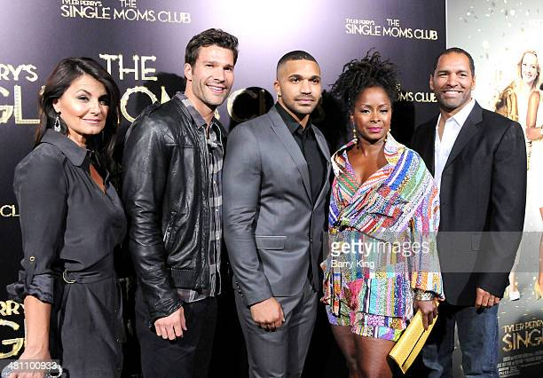 Actress Eva Tamargo actor Aaron O'Connell actor Tyler Lepley actress Crystal R Fox and actor Patrick Faucett arrive at the Los Angeles premiere of...