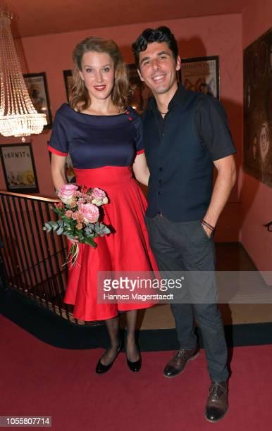Actress Eva-Maria Grein von Friedl and Ricardo Angelini attend the premiere of the theatre play 'Arthur & Claire' at Komoedie im Bayerischen Hof on...