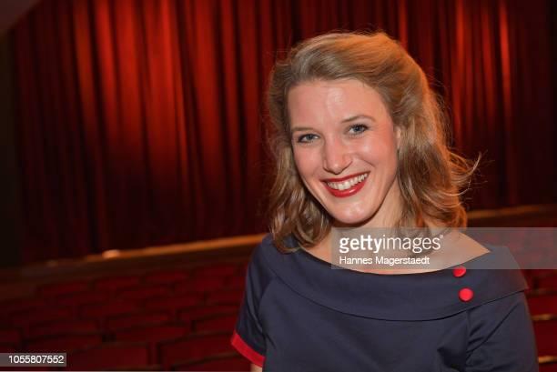Actress Eva-Maria Grein von Friedl attends the premiere of the theatre play 'Arthur & Claire' at Komoedie im Bayerischen Hof on October 31, 2018 in...