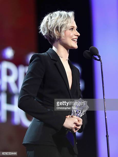 Actress Evan Rachel Wood accepts the award for Best Actress in a Drama Series for 'Westworld' The 22nd Annual Critics' Choice Awards at Barker Hangar...