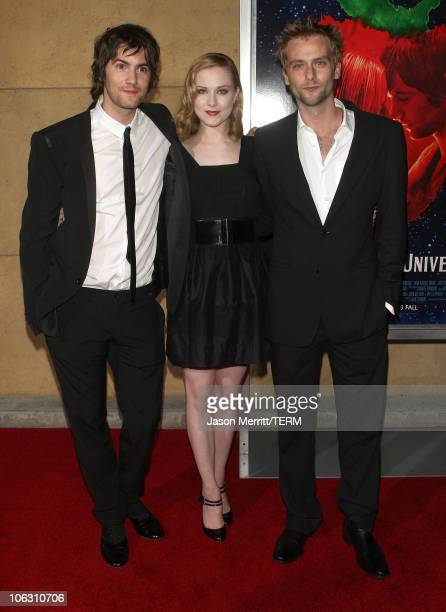 Actress Evan Rachel Wood actor Jim Sturgess and actor Joe Anderson arrives for a special screening of 'Across The Universe' at the El Capitan Theatre...