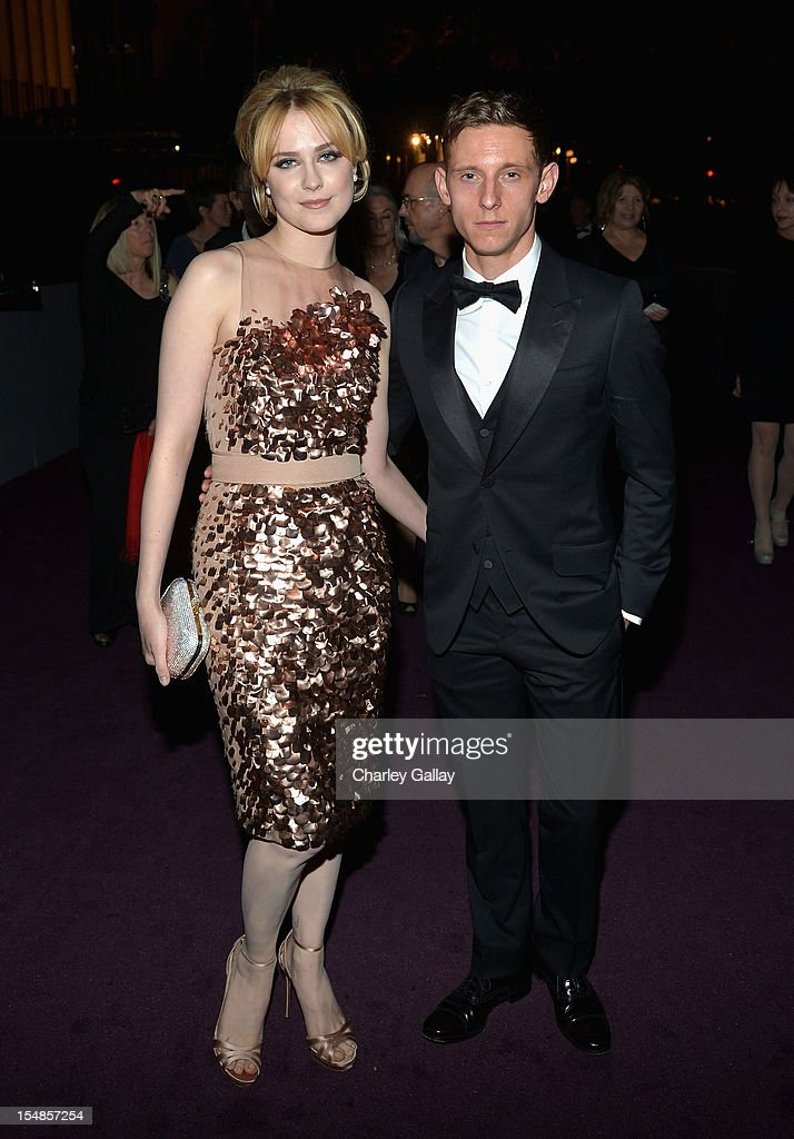 Actress Evan Rachel Wood and Actor Jamie Bell attend LACMA 2012 Art + Film Gala Honoring Ed Ruscha and Stanley Kubrick presented by Gucci at LACMA on October 27, 2012 in Los Angeles, California.