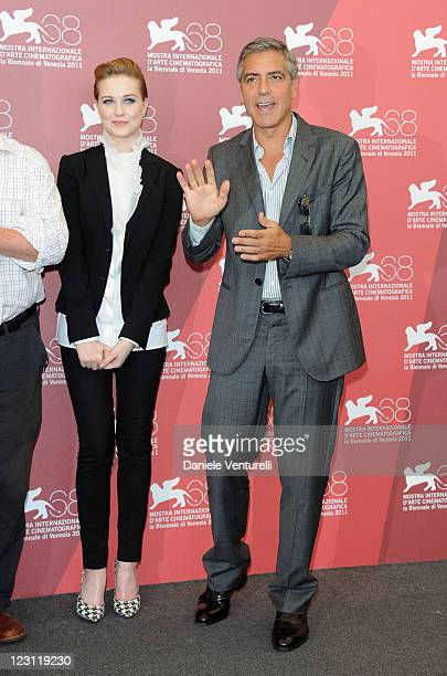 Actress Evan Rachel Wood and director/actor George Clooney attend the The Ides of March Photocall during the 68th Venice International Film Festival...