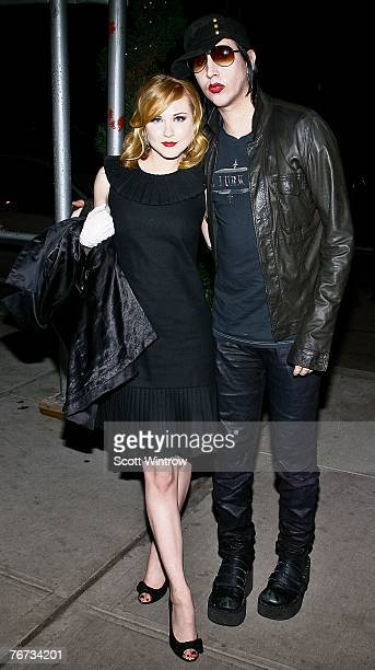 "Actress Evan Rachel Wood and musician Marilyn Manson arrive for the after party for a special screening of ""Across The Universe"" at Bette on..."