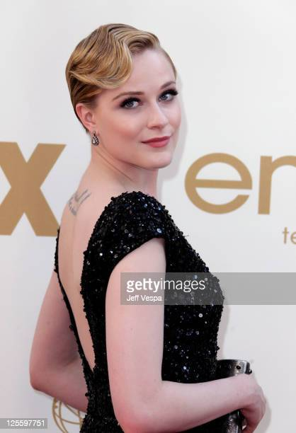 Actress Evan Rachel Wood arrives to the 63rd Primetime Emmy Awards at the Nokia Theatre LA Live on September 18 2011 in Los Angeles United States