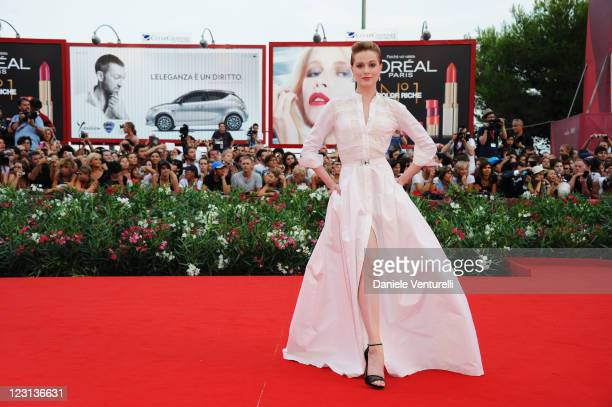 Actress Evan Rachel Wood attends The Ides of March Premiere during the 68th Venice International Film Festival at Palazzo del Cinema on August 31...