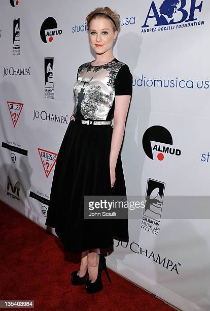 Actress Evan Rachel Wood attends the launch of The Andrea Bocelli Foundation at the Beverly Hilton Hotel on December 9 2011 in Beverly Hills...
