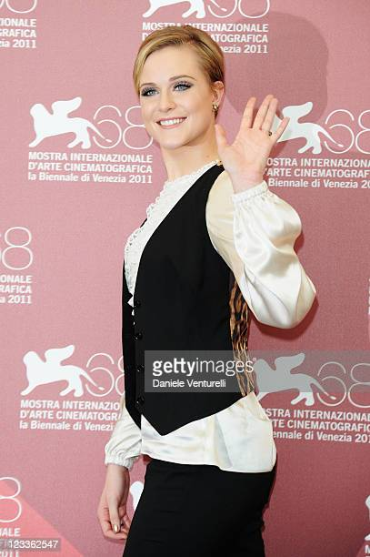 """Actress Evan Rachel Wood attends the """"Mildred Pierce"""" Photocall during the 68th Venice International Film Festival at Palazzo del Casino on September..."""