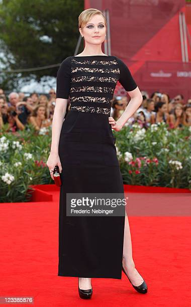 Actress Evan Rachel Wood attends the Mildred Pierce premiere during the 68th Venice Film Festival at Palazzo del Cinema on September 2 2011 in Venice...