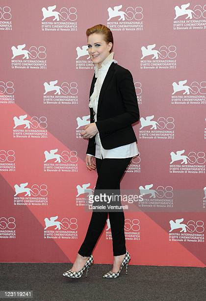 Actress Evan Rachel Wood attends the The Ides of March Photocall during the 68th Venice International Film Festival at Palazzo del Casino on August...