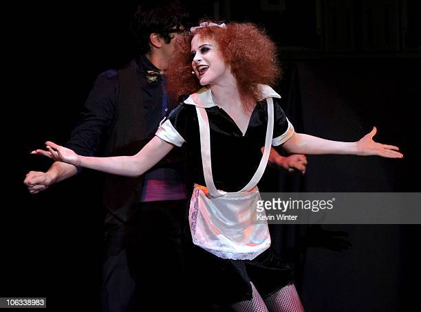 Actress Evan Rachel Wood performs onstage during The Rocky Horror Picture Show 35th anniversary to benefit The Painted Turtle at The Wiltern on...