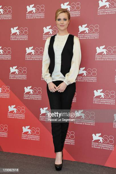 Actress Evan Rachel Wood poses at the Mildred Pierce photocall at the Palazzo del Cinema during the 68th Venice Film Festival on September 2 2011 in...