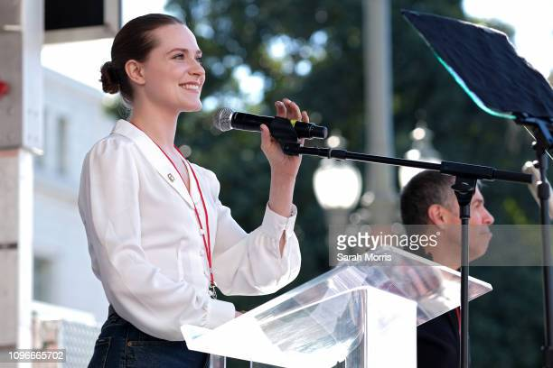 Actress Evan Rachel Wood speaks at the Women's March California 2019 on January 19 2019 in Los Angeles California Demonstrations are slated to take...