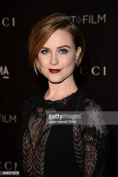 Actress Evan Rachel Wood wearing Gucci attends the 2014 LACMA Art Film Gala honoring Barbara Kruger and Quentin Tarantino presented by Gucci at LACMA...