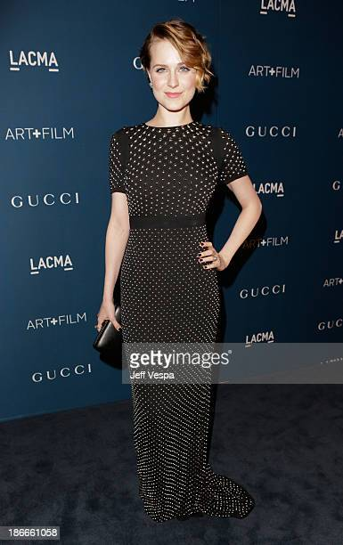 Actress Evan Rachel Wood, wearing Gucci, attends the LACMA 2013 Art + Film Gala honoring Martin Scorsese and David Hockney presented by Gucci at...