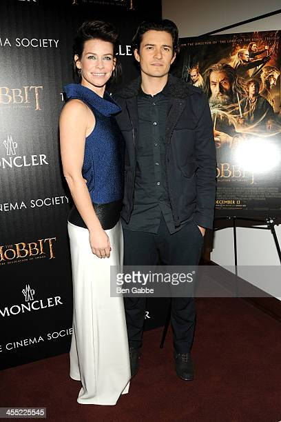 Actress Evangeline Lilly and actor Orlando Bloom attend The Cinema Society Moncler host a screening of New Line Cinema MGM Pictures' 'The Hobbit The...