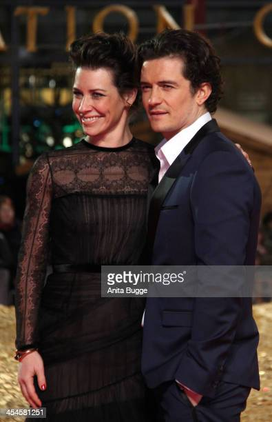 Actress Evangeline Lilly and actor Orlando Bloom attend the The Hobbit The Desolation of Smaug European Premiere at Cinestar on December 9 2013 in...